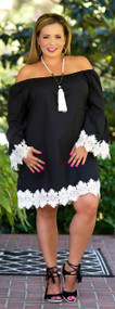 Love Letters Dress / Tunic - Black & Cream