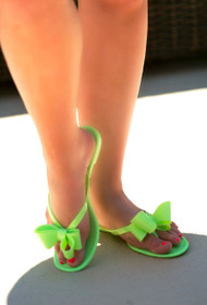 Topped With A Bow Sandal - Lime Green