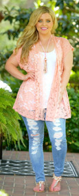 Ray Of Sun Lace Cardigan - Peach