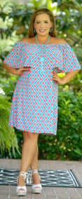 Moment Of Truth Dress - Blue & Peach