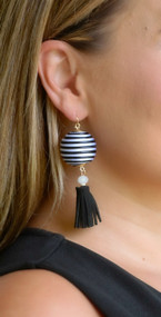 Ball Drop Earring - Black & White