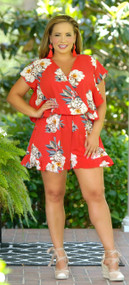 Palm Trees And 80 Degrees Romper - Red***FINAL SALE***