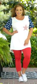 Patriotic Heart Top - White