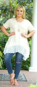 Lace To The Finish Line Top - Light Peach ***FINAL SALE***