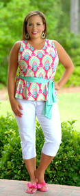 Simply Shellous Top - Fuchsia/Mint***FINAL SALE***