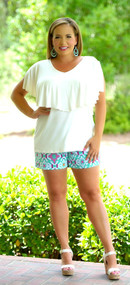Brains And Bronze Short - Jade/White***FINAL SALE***