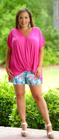 Knot The Navigator Top - Hot Pink***FINAL SALE***