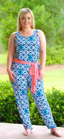 Is Mai Tai Crooked Jumpsuit - Navy/Jade***FINAL SALE***