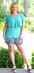 Brains And Bronze Short - Navy/Coral***FINAL SALE***