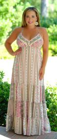 Grecian Goddess Maxi - Pink Multi