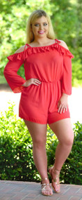 Rise To The Occasion Romper - Coral