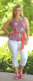 Hold My Place Top - Mint / Fuchsia