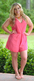 Elle Woods Romper - Coral***FINAL SALE***