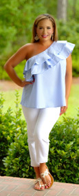 Debutante Flair Top - Blue & White