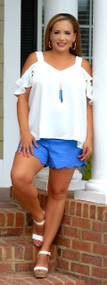 Don't Tell Dottie Scallop Short - Royal Blue
