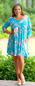 Picking Petals Dress / Tunic - Blue