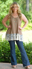 Go The Extra Mile Lace Tank - Mocha