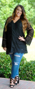 Tune In Tonight Lace Tunic - Black