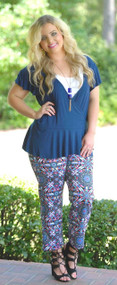 Sway To The Rhythm Wrap Top - Navy