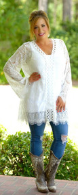 Tune In Tonight Lace Tunic - Ivory