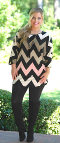 Made In The Shade Tunic - Black/Pink
