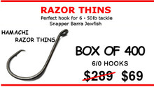 6/0 Hamachi Razor Thins Octo Circle Hooks - C/Sharp  2x Strong   400 PACK