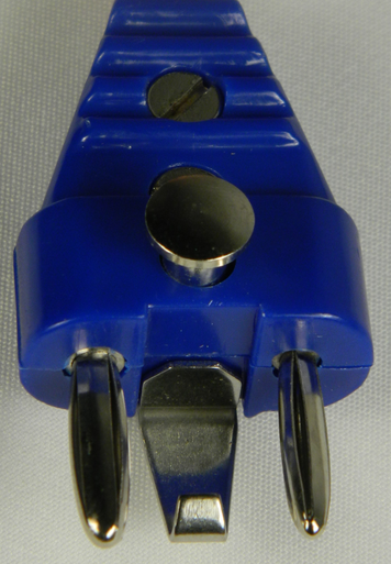 Plug, Two Pin with retaining clip. Used for Foil body cord