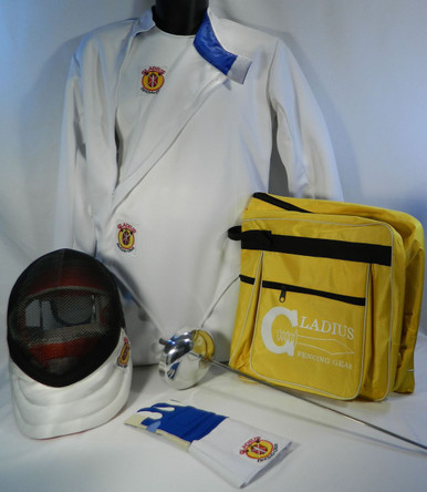 Complete children's Epeé 7-piece fencing equipment set needed to learn to fencing from the Beginning lesson to getting ready to Compete:  Epeé Mask - 800N Mesh, 350N CE bib Children's Jackets - 350N CE made with Dyneema and polyester blend material Children's Knickers (Pants)- 350N CE made with Dyneema and polyester blend material Children's Plastron (Underarm Protector)- 350N CE made with Dyneema and polyester blend material Epeé Glove Electric Weapon assembled to meet the desire of the fencer An A-shape Single Layer carry bag to carry all your equipment. Made of heavy duty nylon with a heavy duty zipper and  two pockets for storage.  All gear is 350N certified and meets requirements for competition at the local and national level tournaments.  **Note: Chest Protector is MANDATORY for girls and women when fencing in tournaments (optional for boys and men), but is highly recommended to wear it whenever you are actually fencing, even practicing, with another person.  Chest Protectors may be purchased with BestValue set at a discounted price.  It can found in the Options Starter Set on the Gladius Fencing Gear website.