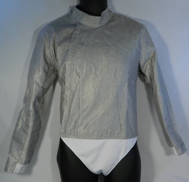 """Front view. Women's Lame is part of the exterior portion of the gear.  It is made with a electrically conductive nickel coded cooper material, manufactured with a nylon insulated lining, sturdy zipper and velcro neck flap for easy adjustment. The lame define the target area for the electrical scoring equipment to determine validity of the """"hit."""""""