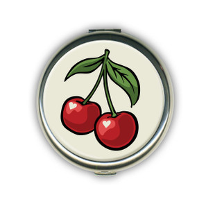 Cherry White Compact Mirror