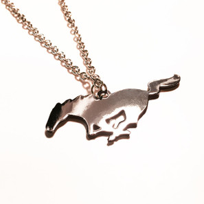 Ford Mustang Pony Detroit Chrome Necklace