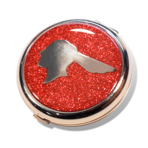 Pontiac Chief Flame Red Glitter Compact Mirror