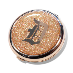 Old School Detroit Champagne Glitter Compact Mirror