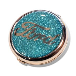 Ford Script Aqua Glitter Compact Mirror