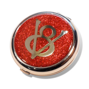 Ford V8 Flame Red Glitter Compact Mirror