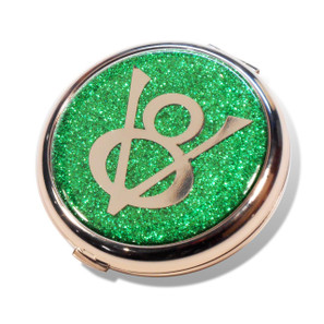 Ford V8 Emerald Green Glitter Compact Mirror