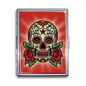 Cherry Red Sugar Skull Cigarette Case