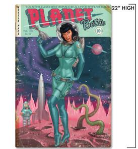 Bettie Page Planet Bettie Metal Sign -