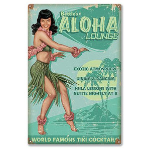Bettie Page Aloha Lounge Metal Sign -