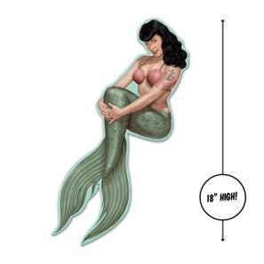 Bettie Page Mermaid Bettie Metal Sign - Small -