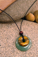 Destiny Duo Stone Pendant Stone Jewelry - Green Aventurine & Tiger's Eye