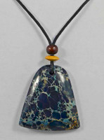 Rock Art Polished Stone Pendant Jewelry - Blue Magnesite Prism