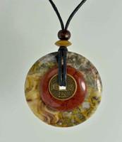 "Stone Circle Pendant Stone Jewelry - Agate & Red Jasper 2"" diam"