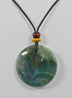 Rock Art Polished Stone Pendant Jewelry Round Moss Agate