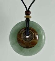 "Stone Circle Pendant Stone Jewelry - Green Aventurine & Tigers Eye 2"" diam"