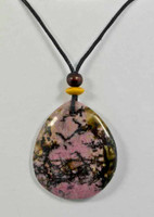 Rock Art Polished Stone Pendant Jewelry Rhodonite Pink and Black
