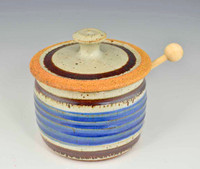 Handmade Pottery Honey Pot in Old Republic Glaze