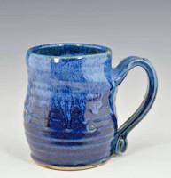 """Handmade Pottery Mug 4"""" Deepwater Blue Glaze 10 oz"""