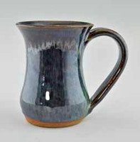 "Handmade Stoneware Mug 4.75"" high x 3.5"" wide in Peacock Blue Glaze"