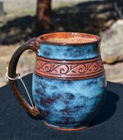 Pottery Mug with a Saying - Carved Wave Band - Blue Rutile - 14 oz